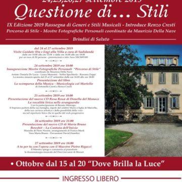 'QUESTIONE…DI STILI' DAL 24 AL 27 SETTEMBRE